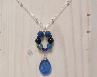 Essential Oil Diffuser Necklace of a Lampwork Glass Pendant, a Circlet of Gemstones and Lava Rocks