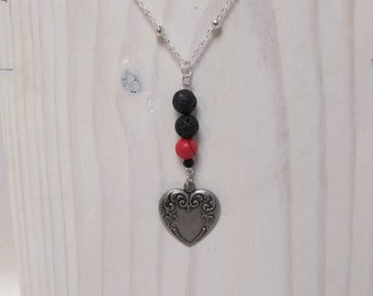 Essential Oil Diffuser Necklace of Antique Finish Heart Pendant, Black Lava Rocks & Red Turquoise