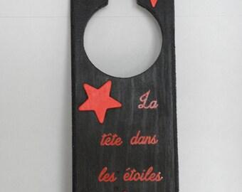 black and red door handle plate