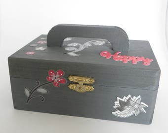Gray wooden box with handle