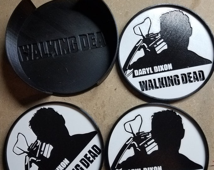 Walking Dead with Daryl Dixon Coasters (3d Printed set of 3)