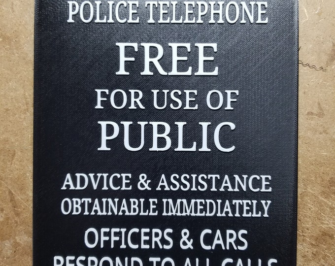 """Tardis Door Sign 9.5 x 7 in. """"Black and White"""" (3d Printed from Doctor Who)"""