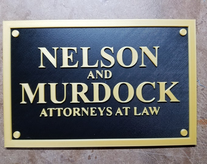 Nelson and Murdock (Daredevil inspired plaque 3d printed)