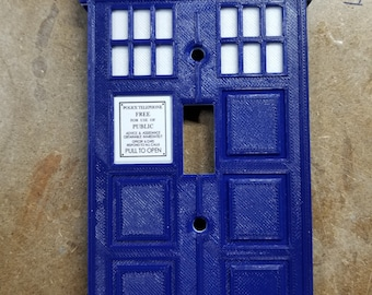 Police Box Light Switch Cover Updated (3d printed)