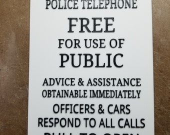 """Police Box Door Sign 9.5 x 7 in. """"No Border"""" (3d Printed from Doctor Who)"""