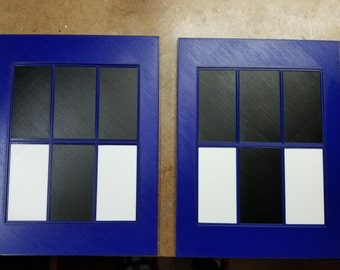 Police Box Windows (3d printed Blue and White with Black panels)