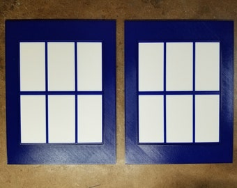 Police Box Windows (3d printed Blue and white) 7.25x9.5