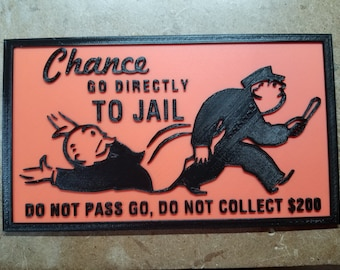 Go Directly To Jail (3d printed Monopoly Chance Card wall logo)