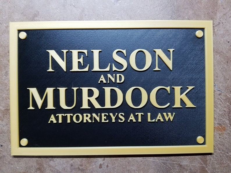 Nelson and Murdock Daredevil inspired plaque 3d printed image 0