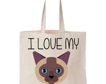 I Love My Siamese Cat Canvas Tote Bag