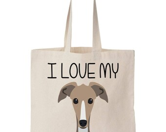 I Love My Greyhound Canvas Tote Bag