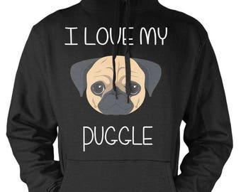 I Love My Puggle Hoodie
