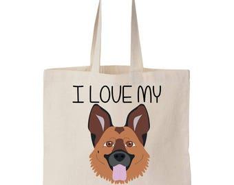 I Love My German Shepherd Canvas Tote Bag