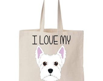 I Love My Westie West Highland Terrier Canvas Tote Bag