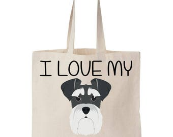 I Love My Shnauzer Canvas Tote Bag