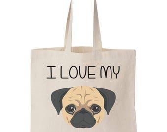 I Love My Puggle Canvas Tote Bag