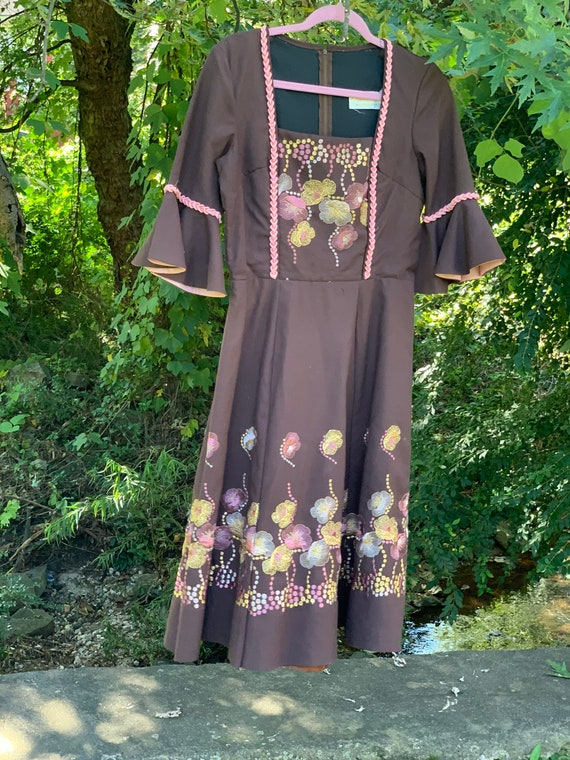 70s Brown + Pink Embroidered Dirndl Dress