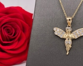 14 K Yellow Gold Praying Angel with Wings with Clear brilliant cut Diamonique cz Pendant Charm Necklace