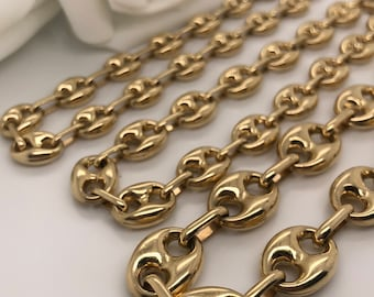 e0001f330 14 K Yellow Gold puffed mariner Gucci link chain bracelet