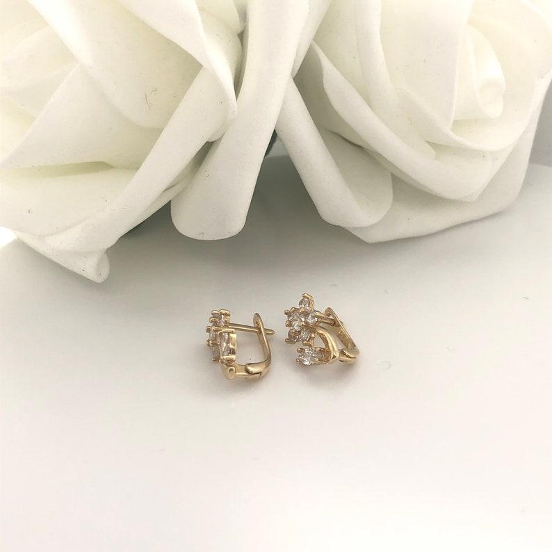 14 K Solid Gold cubic zirconia cz diamonique flower cluster flower stem shape post huggie earrings
