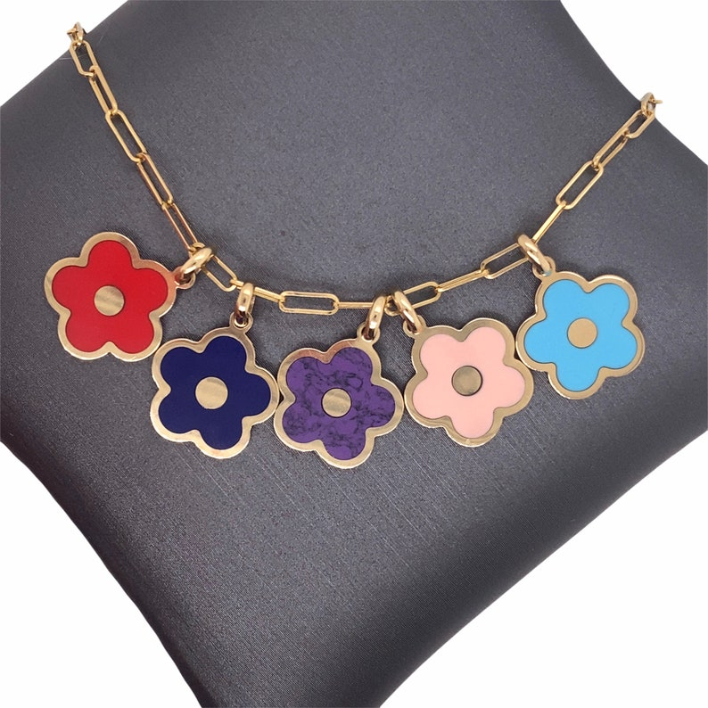 inlay cherry blossom 14K Solid Gold cute flower charm pendants small gemstone coral malachite amethyst turquoise