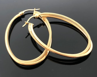 14K Solid Yellow Gold Double Oval Shaped Hoop Earrings, 3 Different Size