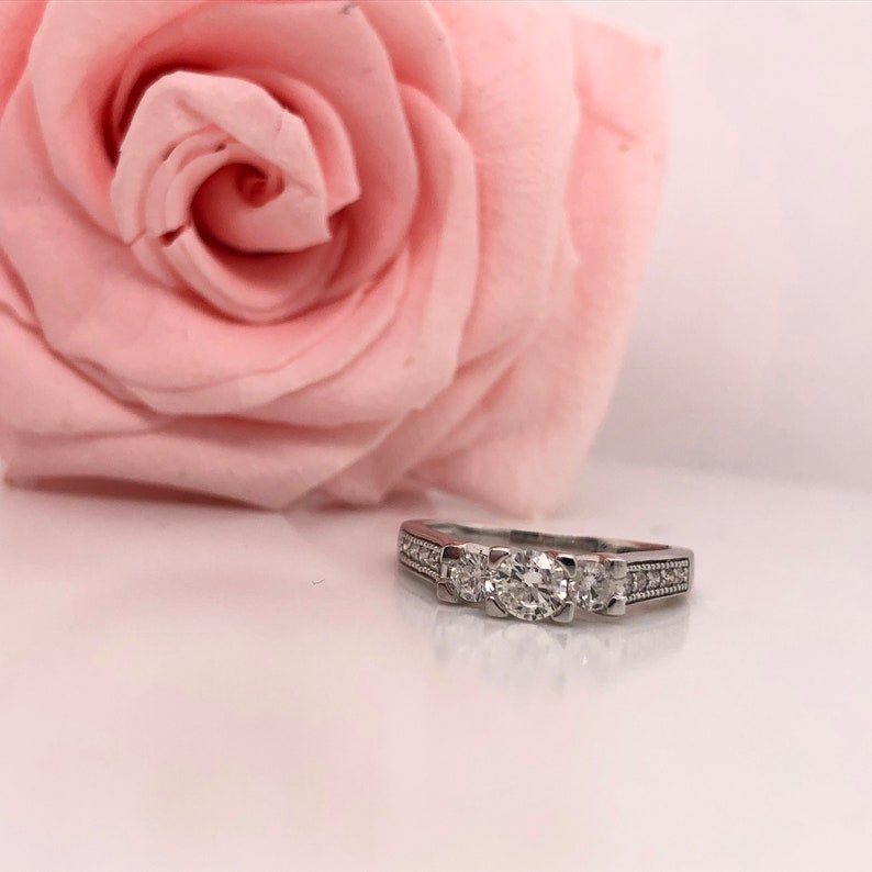 14 K White Gold diamond 3 row past present future 1 carat diamond love engagement ring promise ring