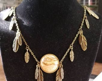 """17 1/2"""" Picture Jasper cabochon necklace with feathers and leaf toggle ends"""
