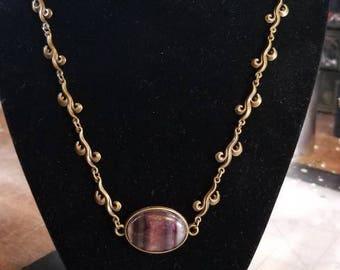 """20"""" Gorgeous Rainbow Flourite cabochon necklace"""