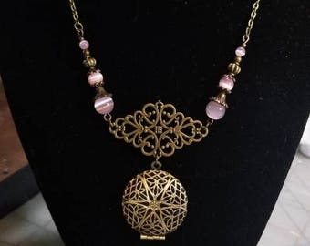 """17"""" Scent Diffuser Locket with Pink Cat Eye beads"""