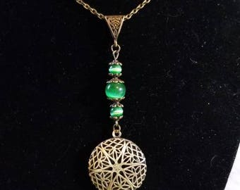 """18"""" Scent Diffuser Locket with Green Cat Eye Beads"""