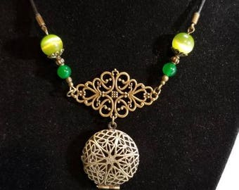 """21"""" scent diffuser locket with green jade and cats eye beads 2mm leather necklace"""