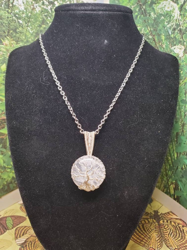 20 Quartz crystal and tree of life pendant necklace