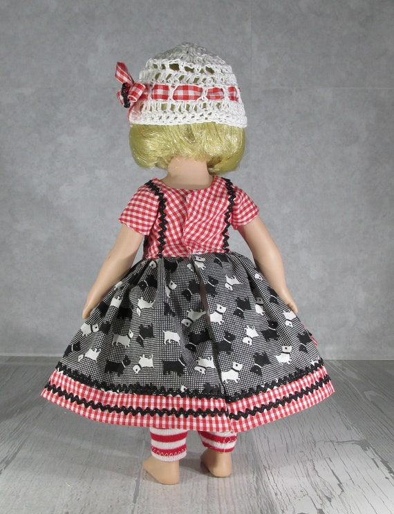 Debs Scottie Dog Dress /& SWEATER TIGHTS SHOES Doll Clothes For 18 American Girl