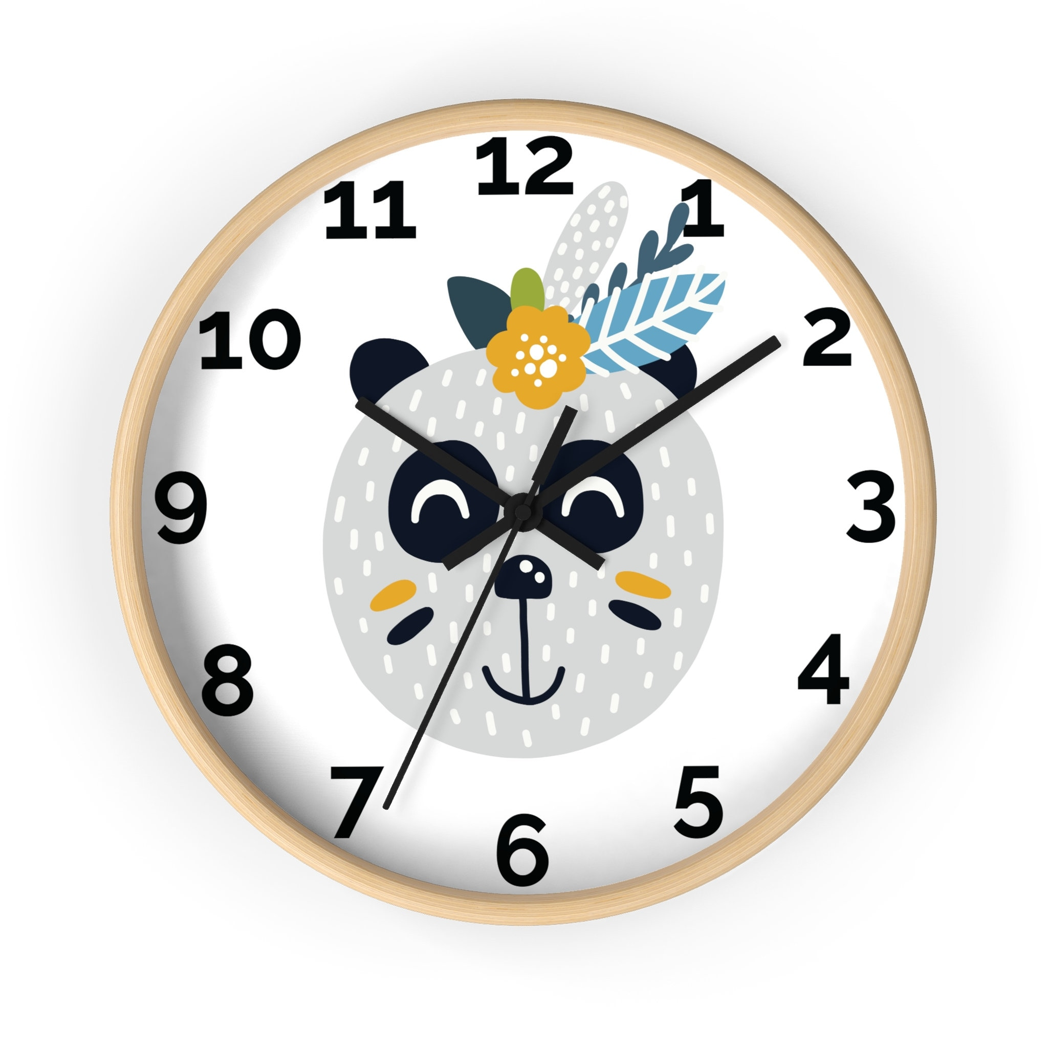 Nursery Decor Woodland Wall Clock For Baby Room Kids Room Etsy