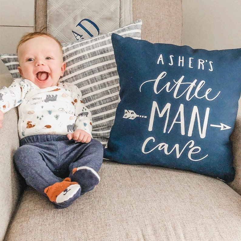Baby boy gift Little man cave Personalized pillowcase Navy image 0