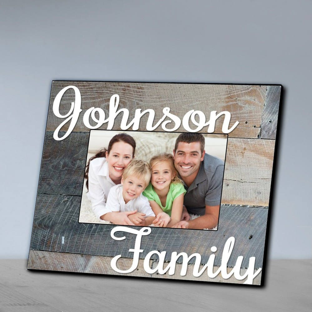 Personalized Family Grey Wood Grain Picture Frame Family | Etsy