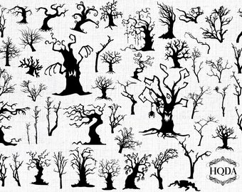 50 halloween dead trees silhouettes svg 50 spooky halloween trees svg designs printable cut files cricut silhouette studio