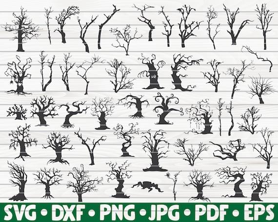 50 Dead Trees Silhouettes Bundle Svg 50 Spooky Halloween Etsy