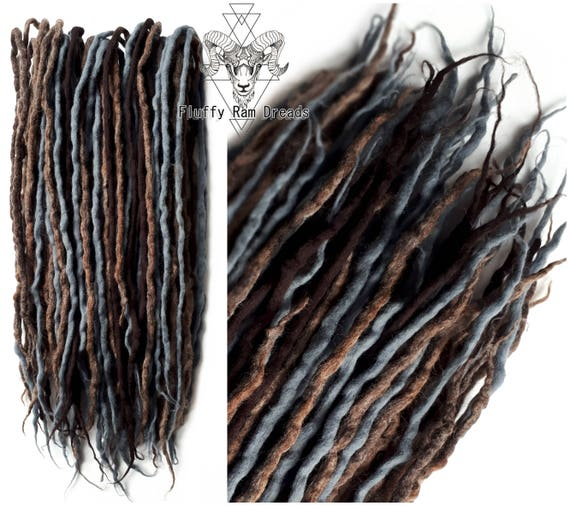 MIX n ° 5 marrons, gris, gris / laines dreadlocks ensemble / doubles terminé DE / court moyen long / laine redoute qualité 14-29 pouces