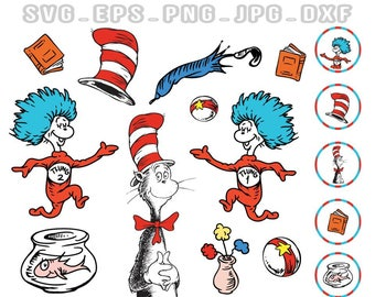Dr Seuss Svg, Cat in the Hat Svg, Png, Clip Art, decal design, cartoon clipart, Cricut Files, Silhouette Files, Printable, Cameo, T-shirt