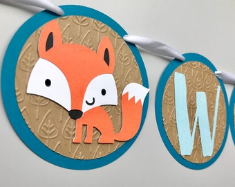 Welcome Baby Woodland Custom Banner; Woodland Baby Shower Banner; Fox and Racoon Baby Shower Banner; Woodland Animals Baby Shower Garland