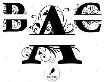 Split monogram svg, split monogram font svg, floral font svg, regal alphabet svg, letter svg for cricut – eps dxf png pdf svg – digital file