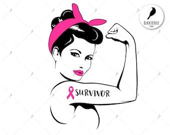 Rosie the Riveter svg, survivor Rosie svg, Rosie clipart, woman svg, pink ribbon svg, survivor svg for cricut – eps dxf png pdf svg – files