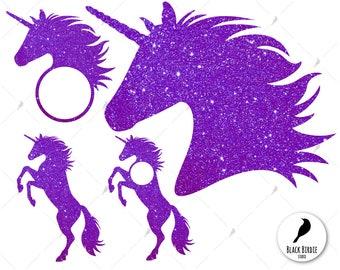 Unicorn svg, unicorn clipart, unicorn head svg, purple glitter unicorn monogram frame svg for cricut – eps, dxf, png, pdf, svg – file