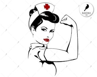 Rosie the Riveter svg, nurse svg, strong woman svg, nurse clipart, nurse Rosie svg, power svg for cricut – eps dxf png pdf svg digital file