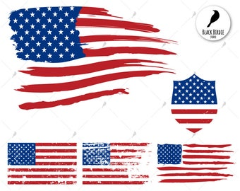 US Flag Svg Distressed Clipart American