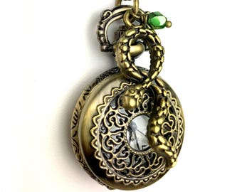 Harry Potter Inspired Pocket Watch  - Slytherin Inspired Jewelry - Snake Jewelry - Book Jewelry - Book Lover Gift - Pocket Watch For Her