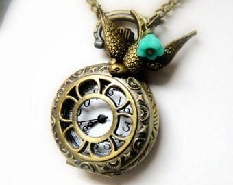 Pocket Watch Necklace - Steampunk Pocket Watch Necklace - Spring Necklace - Gift for Her - Pocket Watch For Girls - Steampunk Pocket Watch