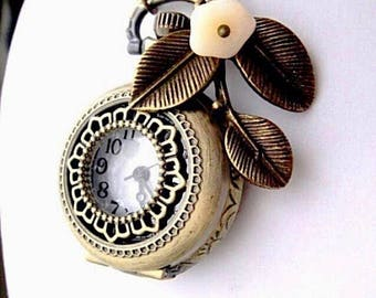 Spring Pocket Watch Necklace - Steampunk Pocket Watch - Summer Jewlery - Spring Jewelry - Gift - Antique Brass Pocket Watch Necklace